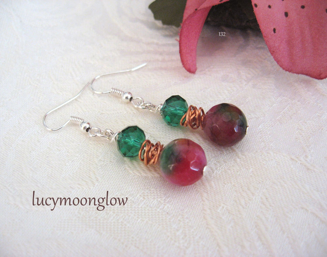 Multi Color Agate Gemstone Earrings