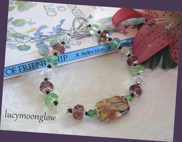 SOLD Picasso Jasper Gemstone and Crystal Bracelet
