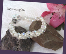 Load image into Gallery viewer, Hand Woven White Pearl and Crystal Bracelet