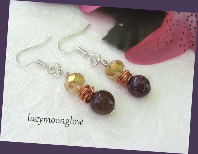 Dragon Vein Agate Gemstone Earrings