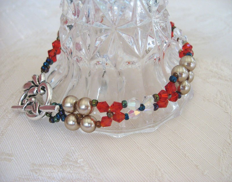 Champagne Glass Pearl and Red Crystal Bracelet