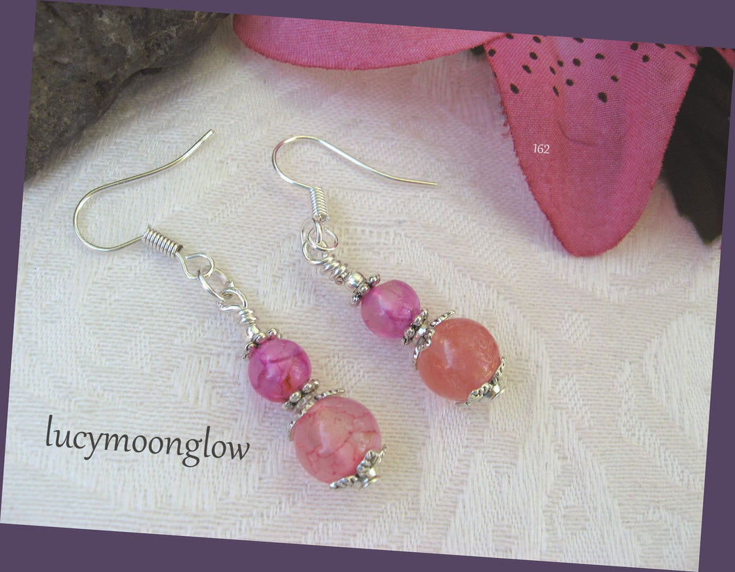 Pink Dragon Vein Gemstone Earrings