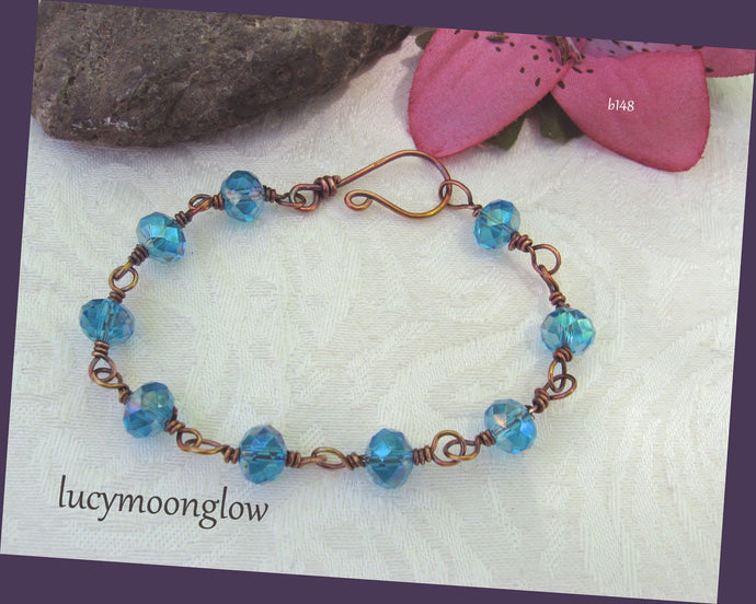 Aqua Blue Crystal and Copper Wire Wrapped Bracelet