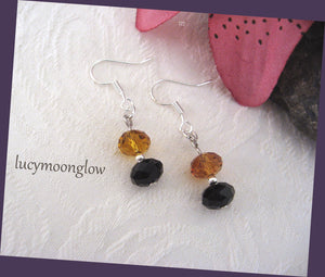 Black and Topaz Crystal Earrings