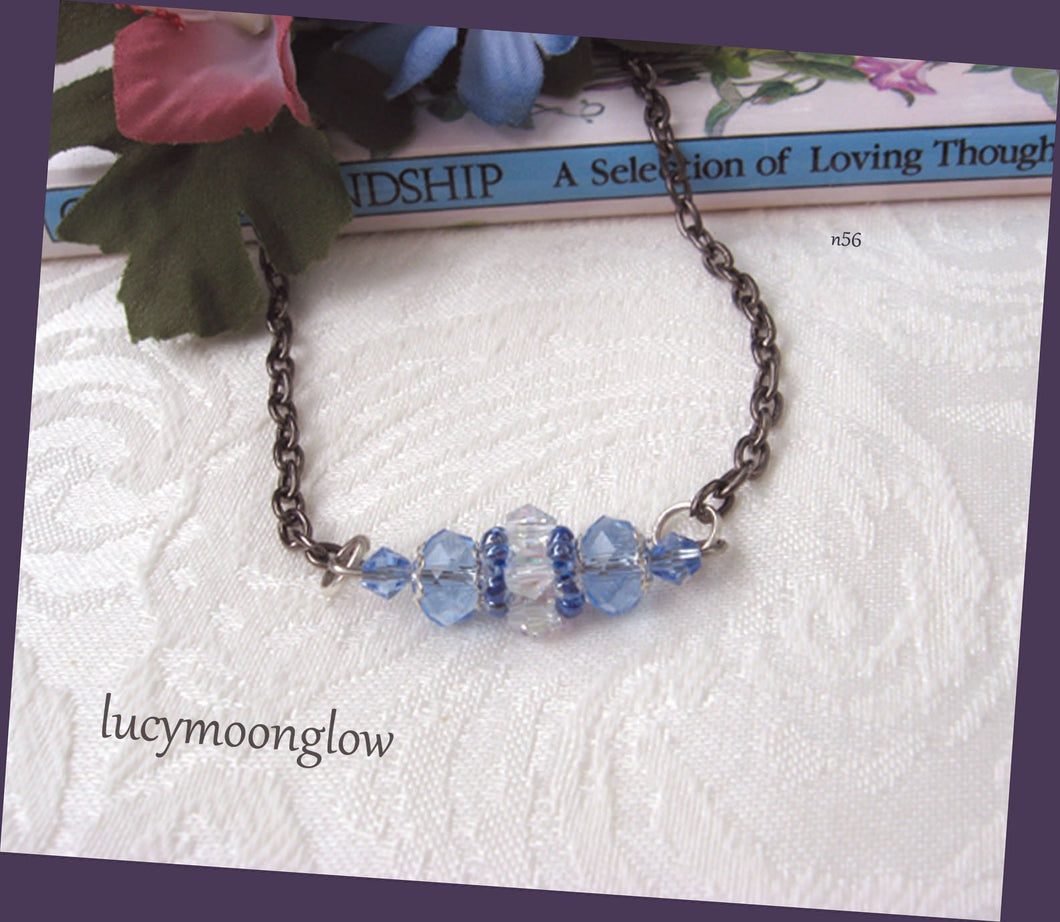 Hand Woven Blue Crystal Necklace
