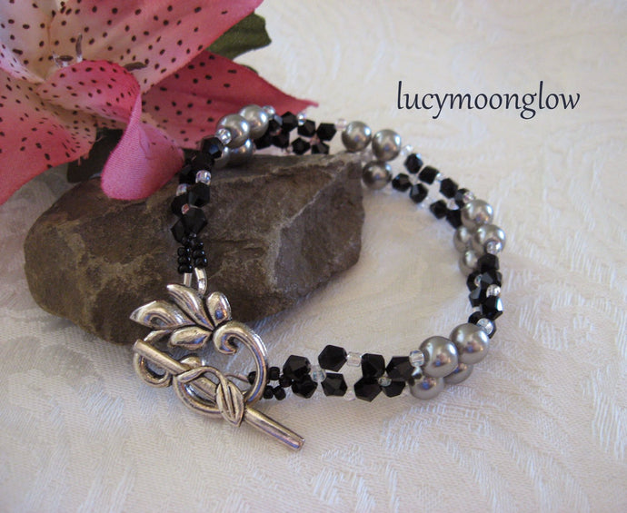 Pewter Grey Glass Pearl and Crystal Bracelet