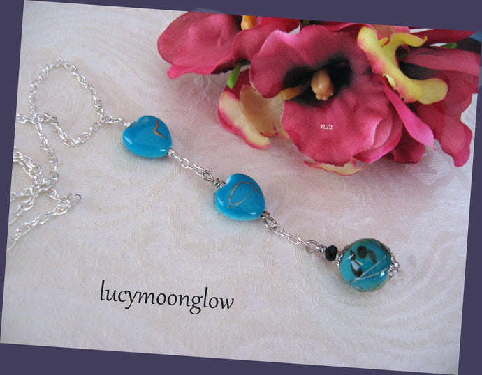 Blue Dangling Hearts Necklace
