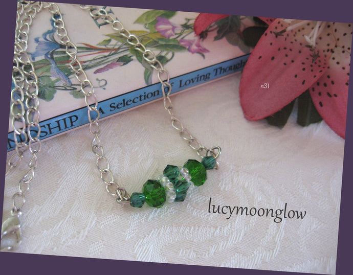Hand Woven Emerald Crystal Necklace