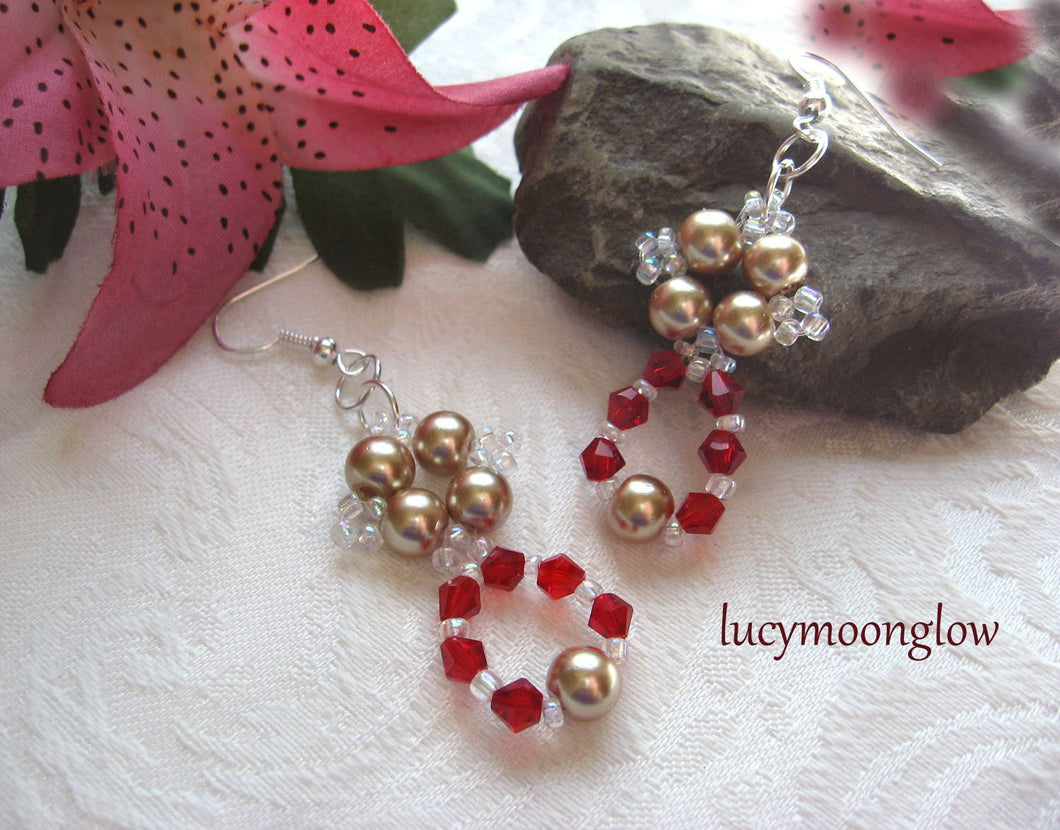 Woven Pearl and Crystal Earrings