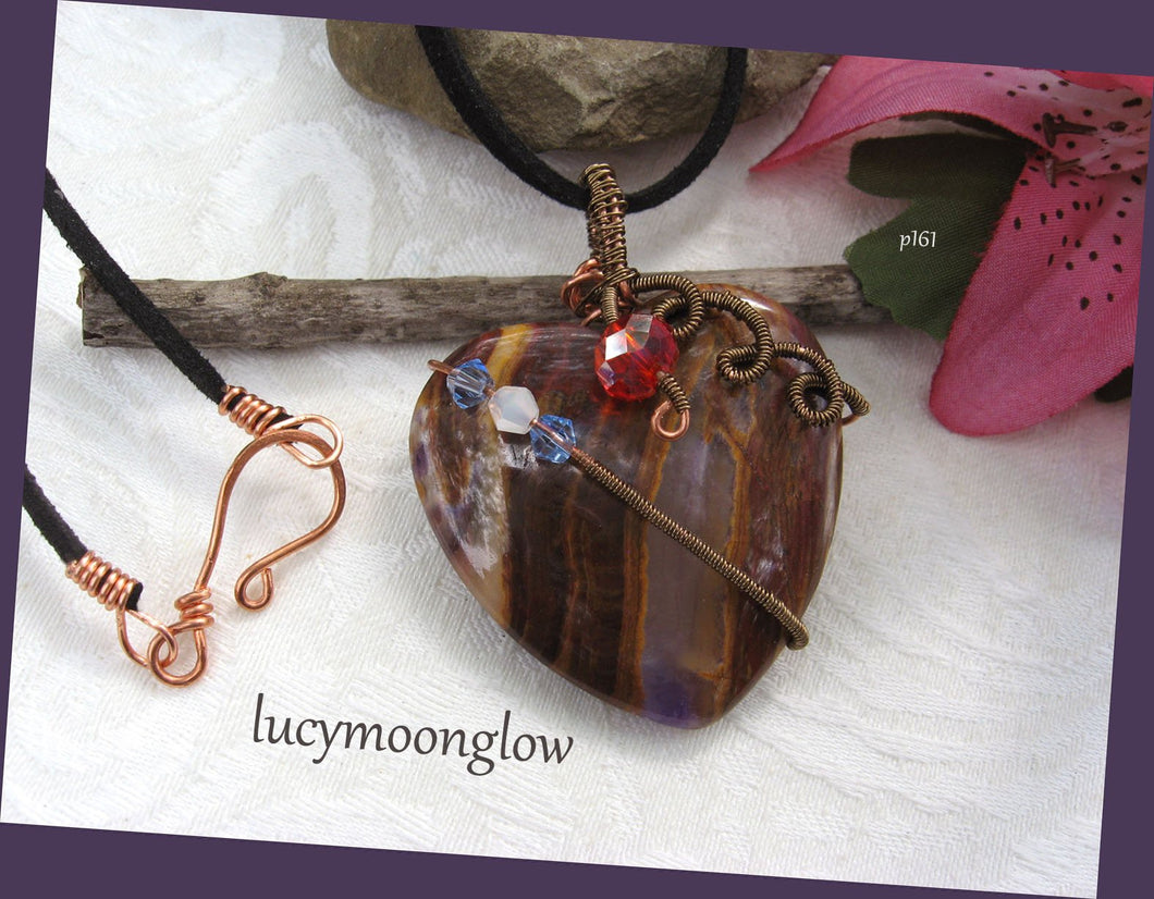 Wire Wrapped Jasper Gemstone Heart Pendant Necklace