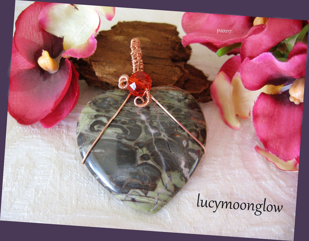 Wire Wrapped Sage Agate Gemstone Heart Necklace