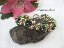 Load image into Gallery viewer, Champagne Pearl and Swarovski Crystal Bracelet