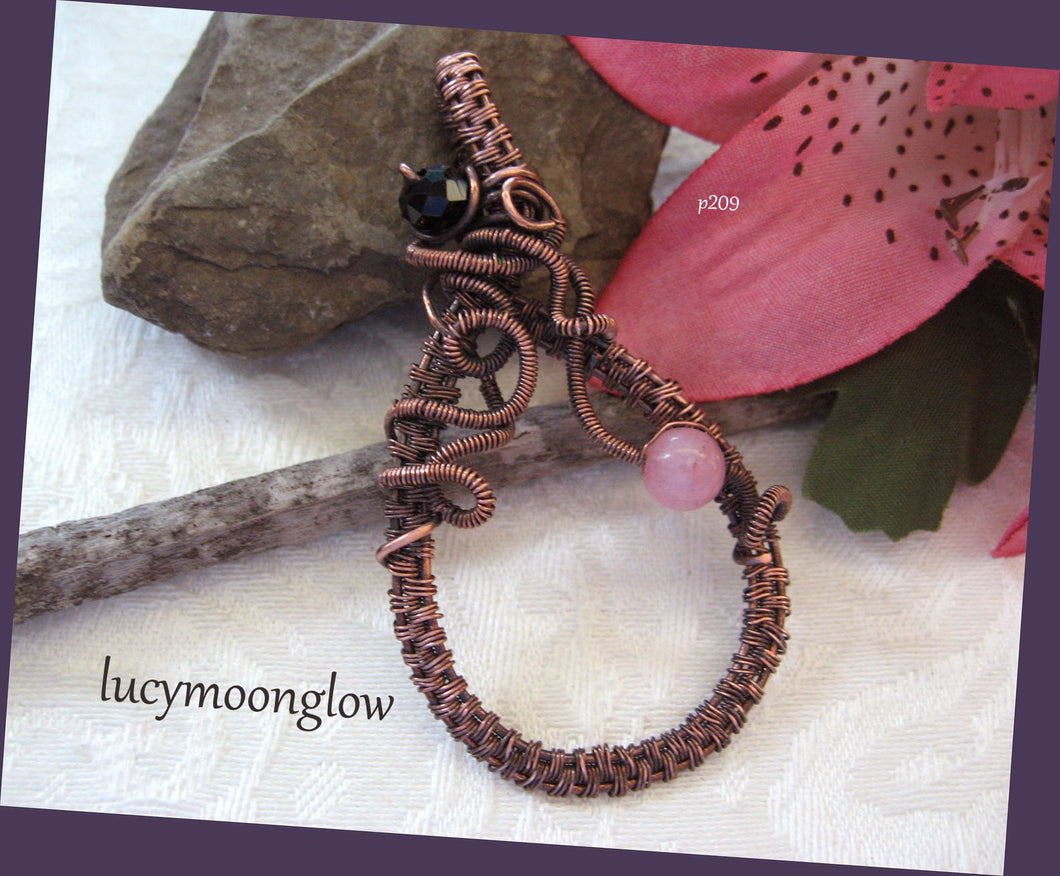 Copper Wire Wrapped Jade Teardrop Necklace