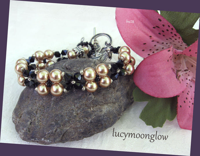 Pearl and Crystal Woven Bracelet