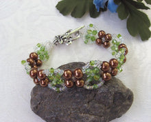 Load image into Gallery viewer, Pearl and Crystal Hand Woven Bracelet