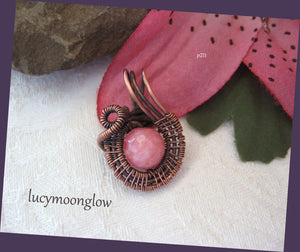 Pink Jade Swirl Wire Wrapped Necklace