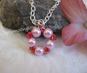 Pink Pearl Circle Necklace