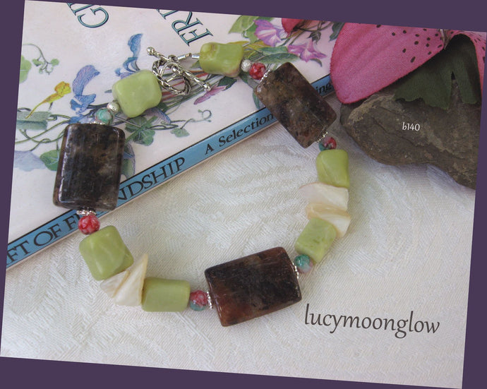 Brown Moonstone and Peridot Jasper Bracelet