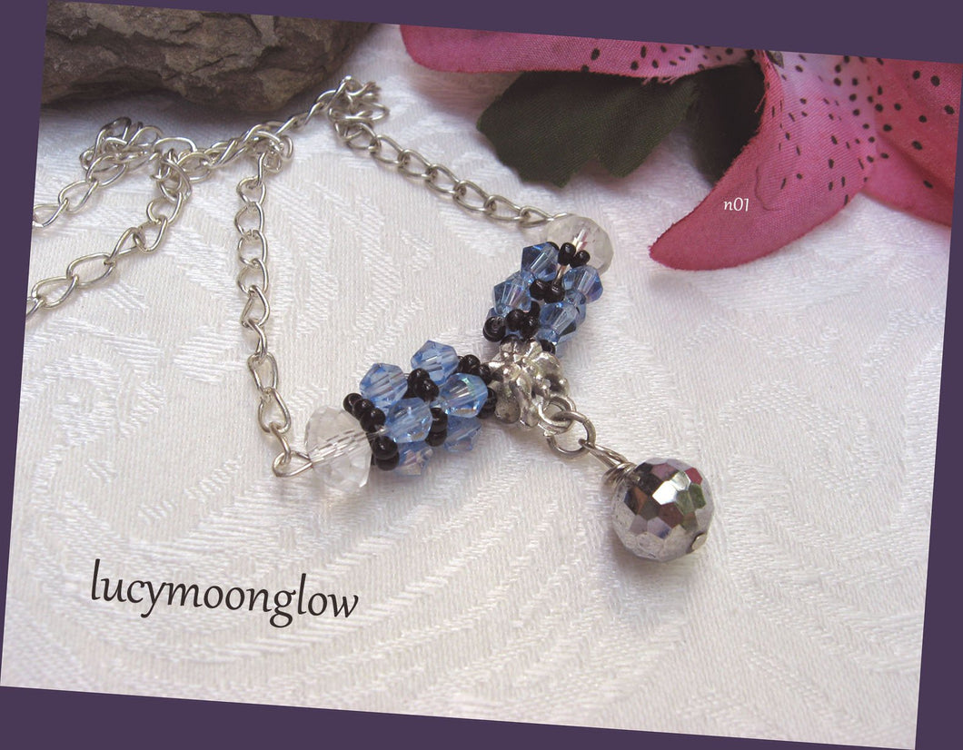 Hand Woven Blue and Silver Crystal Necklace