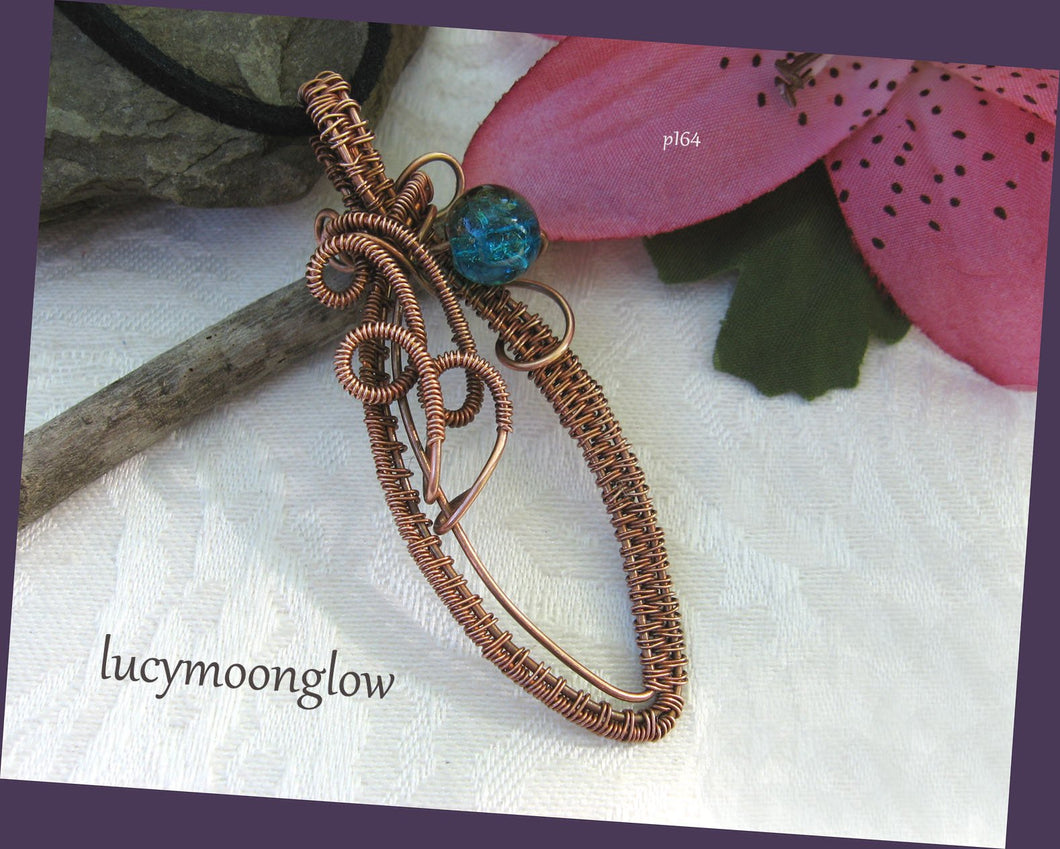 Copper Teardrop Wire Wrapped Necklace
