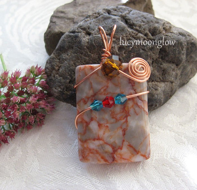 Wire Wrapped Red Line Marble Pendant