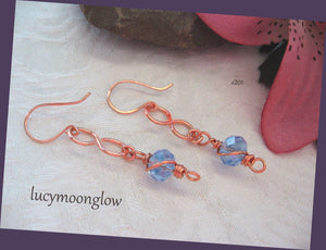 Copper and Blue Crystal Wire Wrapped Earrings
