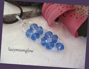 Hand Woven Blue Crystal Pendant Necklace
