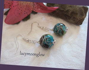 Teal Marbelized Dangle Earrings
