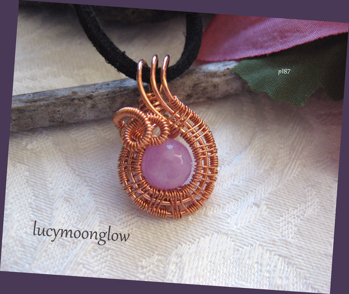Lavender Jade Wrapped Swirl Pendant Necklace