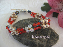 Load image into Gallery viewer, Champagne Glass Pearl and Red Crystal Bracelet
