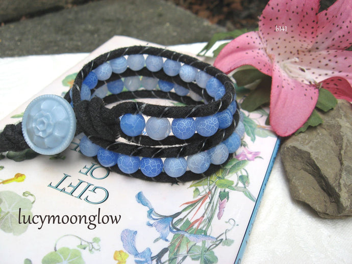 SOLD Blue Dream Fire Agate Wrap Bracelet