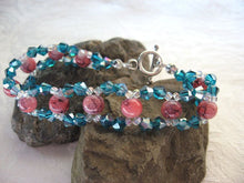 Load image into Gallery viewer, Hand Woven Crystal and Marbled Glass Bracelet