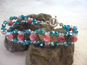 Hand Woven Crystal and Marbled Glass Bracelet