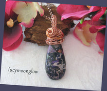 Load image into Gallery viewer, Purple Sea Sediment Wire Wrapped Gemstone Necklace