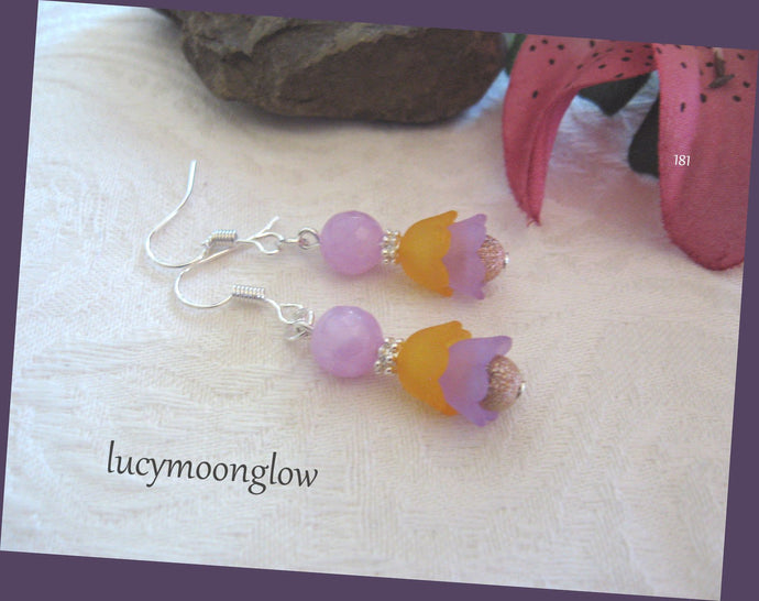 Lavender Jade Flower Earrings