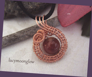 Red Agate Wrapped Swirl Pendant Necklace