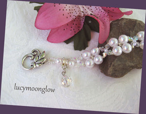 White Glass Pearl and Crystal Bracelet