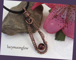 Copper Wire Wrapped Agate Teardrop Necklace