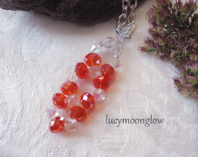 Hand Woven Red Crystal Pendant Necklace