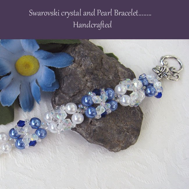 Pearl and Swarovski Crystal Woven Bracelet