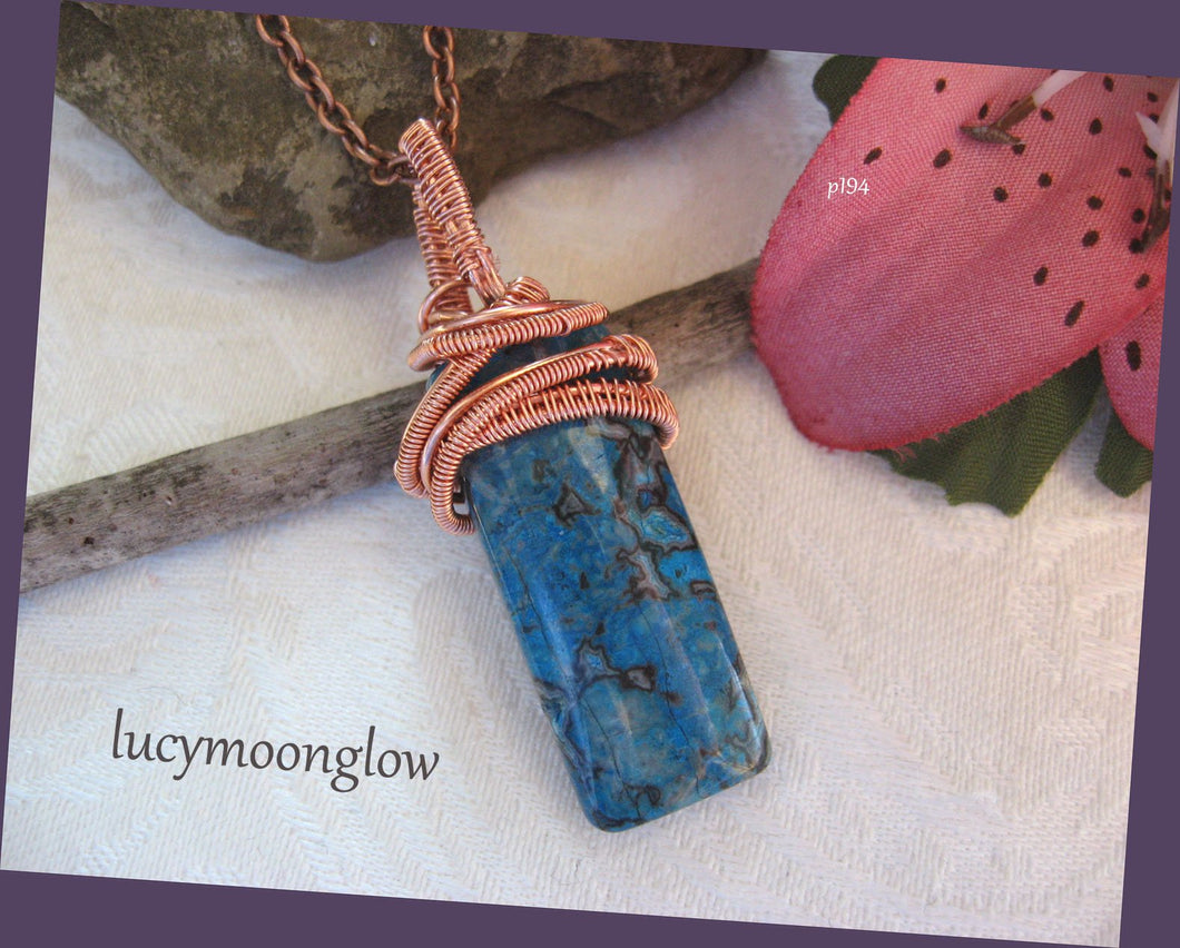Crazy Lace Agate Wire Wrapped Pendant Necklace