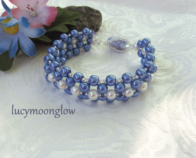 Blue and White Pearl Hand Woven Bracelet