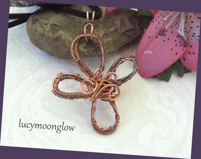Wire Wrapped Copper Cross Necklace