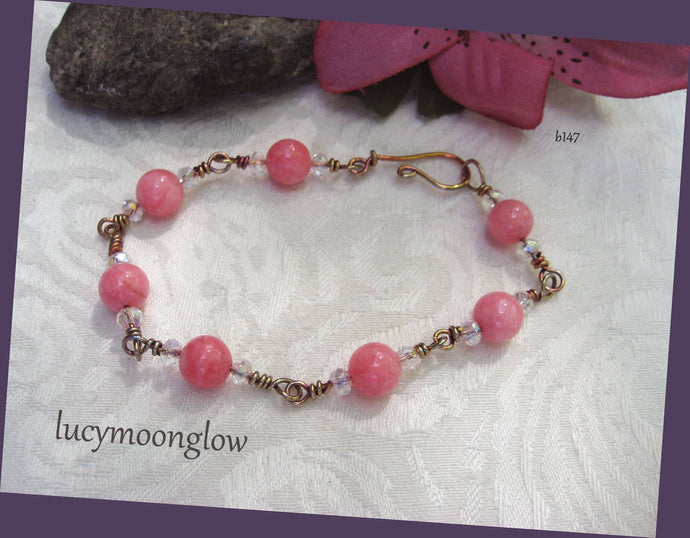 Pink Jade Wire Wrapped Bracelet