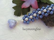 Load image into Gallery viewer, Blue and White Pearl Hand Woven Bracelet