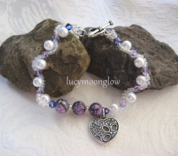 Wavy Pearl and Marbled Glass Bracelet