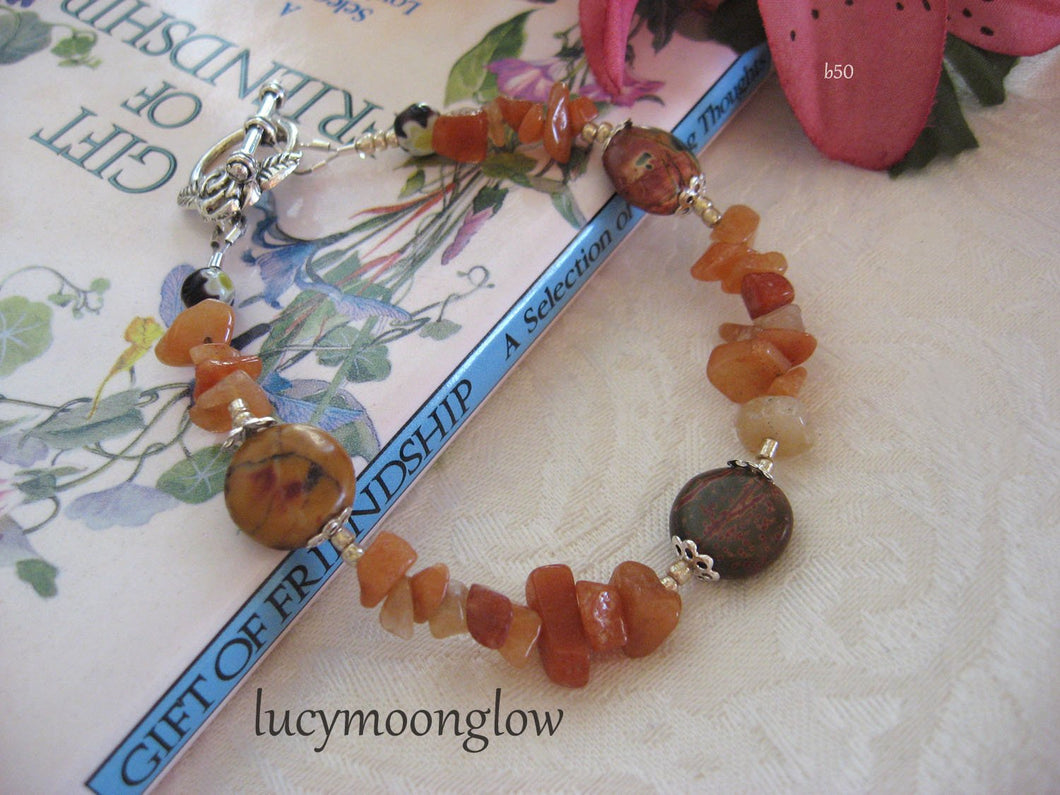 Jasper and Red Aventurine Gemstone Bracelet