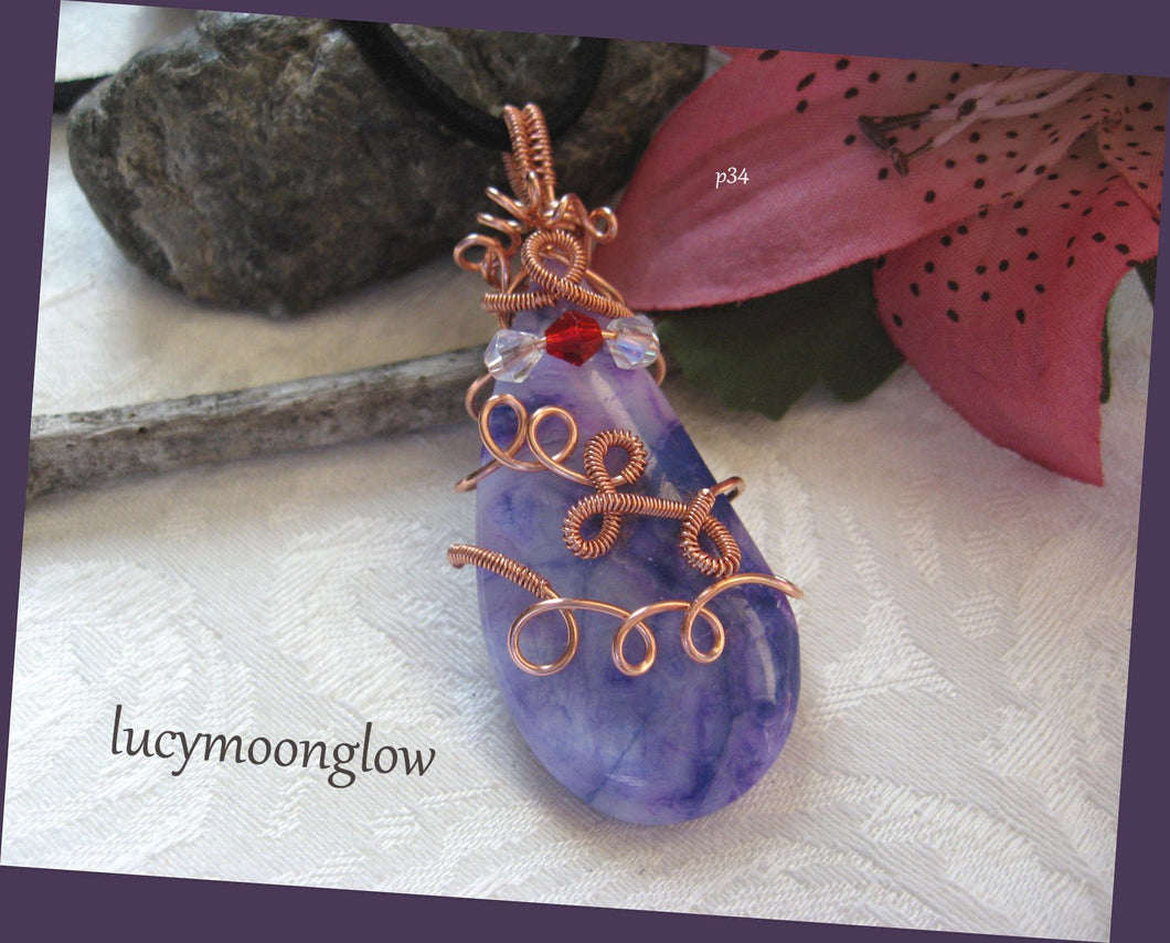 Wire Wrapped Purple Crazy Lace Agate Necklace
