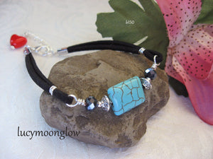 Black Suede and Turquoise Bracelet
