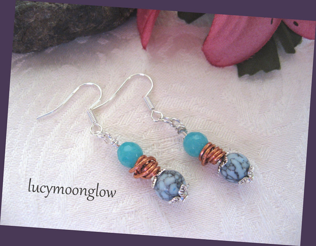 Amazonite and Turquoise Earrings